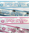 12ft Baby Shower Sparkly Pink or Blue Foil Banner Party Decoration