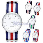 Unisex Mens Women Colorful Nylon Stripe Quartz Analog Sports Watch Fashion Gift