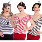 RKP114 Hell Bunny Dolly Sailor Navy 50s Retro Rockabilly Blouse Shirt Top Pin Up