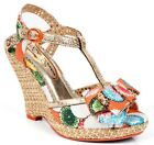 POETIC LICENCE BEHAVE YOURSELF PRINTED FABRIC GOLD FAUX SNAKE WOVEN HEEL  WEDGE