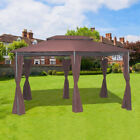 3x4m Metal Gazebo Sun Shade Shelter Party Tent Pavilion Canopy with Side Curtain