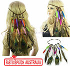 Hippie 1970s Party Gypsy Bohemian Peacock Feather Headband Hair Band Extension
