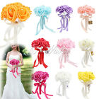 6 PACK Wedding Bridesmaid Girlfriend Bouquets Artificial Foam Roses Silk Ribbons