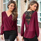 Sexy Fashion Women V-neck Tops Tee Long Sleeve Shirt Casual Blouse Loose T-shirt