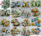 20pcs Cloisonne Enamel Oval Flower Spacers O75