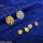 1Set Women Fashion Stainless Steel Life Tree Round Earrings Pendant Necklace