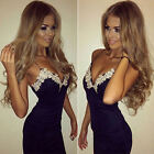 UK Sexy Womens Navy Bodycon Strappy V Neck Floral Lace Evening Party Mini Dress