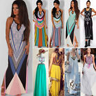Plus Size Women Summer Boho Sleeveless Long Maxi Evening Party Sun Dress Uk 6-20