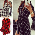 New Women Plaid Check Belt Skater Shirt Dress 3/4 Sleeve Blouse Ladies Shirt Top