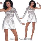 CL805 Ladies Disco Honey Silver Go Go Disco Hippie 70s Retro Fancy Dress Costume