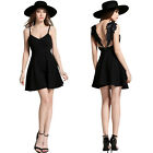 Summer Sexy Women Embroidery Lace Wings Beach Party Backless Mini Dress Sundress