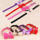 Adorbale Bowknot Adjustable PU Leather Dog Puppy Pet Cat Collars Necklace 6Color