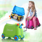 Child Ride On Storage Case Luggage Bag Rolling Carry Suitcase Trunk Ride-On Toy