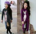 2016 Long Sleeve Dress Casual Party Princess Lovely Cat Girls Kids Dresses 2-7Y