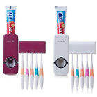 Automatic Toothpaste Tube Dispenser Squeezer Toothbrush Holder Bathroom Wall Set