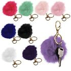 New Cell Phone Car Keychain Pendant Handbag Key Ring Rabbit Fur Ball PomPom