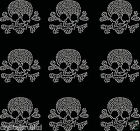 9x Small Filled Skull Iron On Rhinestone Transfer Crystal t-shirt applique