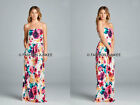 WHITE 62 FLORAL MAXI DRESS Strapless Tube Jersey Long Full Length POCKETS S M L