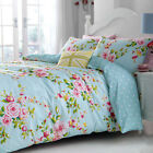 Vintage Floral Duvet Cover Blue Pink Green Reversible Quilt Cover Bedding Set
