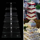 3-7 Tier Cupcake Stand Wedding Tableware Decoration Square Style Clear Acrylic