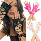 One Size Fits Most Fishnet Lace Up Fingerless Gloves ML413