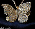 """3 D Butterfly Statement Necklace With A/B Crystal Accents Sophia 24"""" Metal Alloy"""