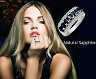 18K White Gold Plated Blue Sapphire Women Birthstone Wedding Bridal Ring R21