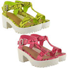 WOMENS CUT OUT CHUNKY SANDALS LADIES CLEATED HIGH HEEL PLATFORM SHOES SIZE 3 - 8