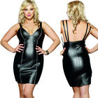Plus Size One Size 1X / 2X  Black Vinyl Faux Leather Dress DG8707X