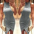 New Fashion Women's Sexy Dress Sleeveless Evening Party Irregular Bodycon Dress