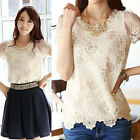 Fashion Womens Sexy Floral Lace Tops Short Sleeve Chiffon T Shirt Blouse TEE New