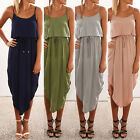 Sexy Womens Summer Sleeveless New Asymmetrical Long Dress Party Beach Maxi Dress