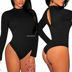 Womens Bodysuit Jumpsuit Leotard Tops Ladies Long Sleeve Polo Neck Stretch Shirt