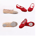 NEW CANVAS BALLET DANCE SHOES SLIPPERS Toddler-adult Gym PAWS shoes Beige/Red