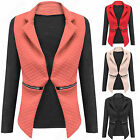 NEW LADIES QUILTED BLAZER PU LONG SLEEVE CONTRAST ZIP FRONT WOMENS JACKET TOP