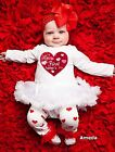 Baby First Father's Day Red Heart White Long Sleeve Bodysuit Tutu 3pcs Set