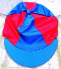 Lycra Riding Hat Silk Skull cap Cover ROYAL BLUE & RED With OR w/o Pompom