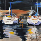 "YACHT DOCK 16"" ORIGINAL LAKESCAPE WATERCOLOR PAINTING"