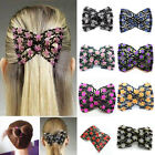 Charm Stretch Pretty Rose Flower Bow Glass Bead Hair Head Comb Cuff Double Clip