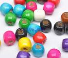 50pcs 100pcs Wood Beads Big Hole Charms Wooden Loose Bead 12 Colors U Pick