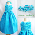 PAdorable Turquoise blue bridal flower girl party dress FREE HEADPIECE all sizes