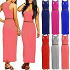 WOMENS LONG MAXI BELT DRESS RACER BACK STRETCH LADIES SLEEVELESS BODYCON VEST