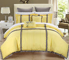 Legend Yellow & Gray 7 Piece Quilted Embroidery Comforter Bed In A Bag Set