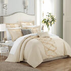 Ruth Ruffled Beige 8 Piece Comforter Bed In A Bag Set