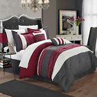 Carlton Burgundy, Grey & White 6 Piece Comforter Bed In A Bag Set