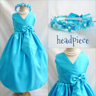 Lovely Turquoise blue Flower girl party  dress size 18-24M 2 4 6 8 10 12 14