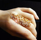 Hot Fashion Women's Plated Crystal  Leaf Above Knuckle Finger Ring Set Chic