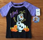 NWT Girls Disney FROZEN Olaf Halloween Black & Purple Raglan Tee ~Toddler Sizes