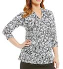 Vince Camuto Plus Printed Pleat V-Neck Top Blouse 1x