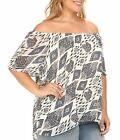 Vince Camuto Plus Moroccan Mirage off shoulder top shirt womens 2x